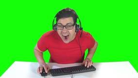 充分的浸没到扣人心弦的计算机游戏里 慢的行动 影视素材