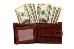充分的皮革货币钱包 免版税图库摄影