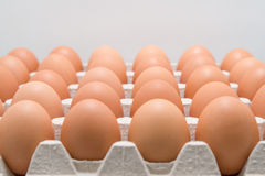 充分的箱在冰箱的鸡蛋 图库摄影