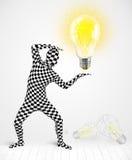 充分的身体的人与发光的电灯泡 免版税图库摄影