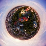 充分的鸟瞰图全景360度基辅市,圣安德鲁` s教会,安德鲁` s下降和历史部分的 库存图片