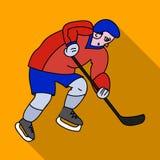 充分的齿轮的曲棍球运动员用打曲棍球的棍子 冬季奥运会体育 奥林匹克体育选拔在平的样式的象 库存例证