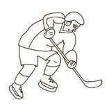 充分的齿轮的曲棍球运动员用打曲棍球的棍子 冬季奥运会体育 奥林匹克体育选拔在概述样式的象 向量例证