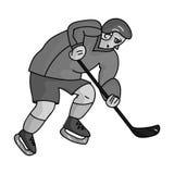 充分的齿轮的曲棍球运动员用打曲棍球的棍子 冬季奥运会体育 奥林匹克体育选拔在黑白照片的象 皇族释放例证