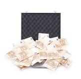 充分的货币手提箱 免版税库存照片