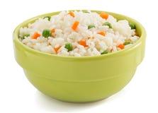 充分碗在白色的米 免版税库存图片