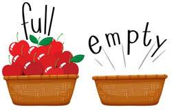 充分空的篮子和篮子苹果 皇族释放例证