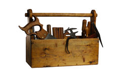 充分老木工具箱被隔绝的工具 免版税库存照片