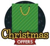 充分购物带来圣诞节销售提议为这个冬天,传染媒介例证 库存例证