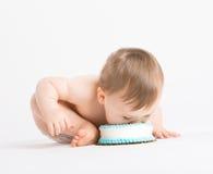 充分婴孩面孔的蛋糕 免版税库存照片