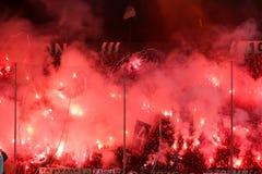 充分Toumba体育场的看法PAOK爱好者  免版税库存照片