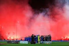 充分Toumba体育场的看法PAOK爱好者  库存照片