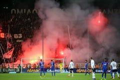 充分Toumba体育场的看法PAOK爱好者  库存图片