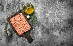 充塞用草本和橄榄油的肉末 库存图片