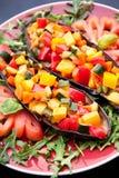 五颜六色的被充塞的茄子 免版税库存照片