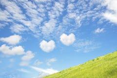 充满两心脏形状爱的蓝天它在绿色领域 库存照片