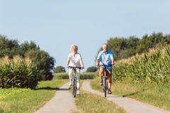 充满信心地今后看资深的夫妇,当乘坐bicyc时 免版税库存图片