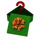 充满惊奇的绿色礼物盒在白色 免版税库存照片
