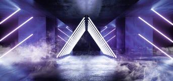 充满活力烟三角金字塔霓虹发光的科学幻想小说紫外紫色蓝色未来派具体空的难看的东西反射性的室 库存例证