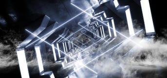 充满活力烟霓虹走廊太空飞船真正未来派科学幻想小说现代光滑的金属反射性外籍人入口隧道黑暗的激光 库存例证