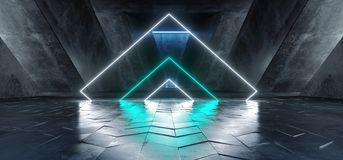 充满活力的三角霓虹建筑舞台背景发光的蓝色白色道路轨道门入口科学幻想小说未来派虚拟现实 皇族释放例证