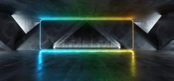 充满活力的三角霓虹背景发光的彩虹蓝绿色黄色道路轨道门入口科学幻想小说未来派虚拟现实 皇族释放例证
