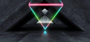 充满活力的三角霓虹背景发光的彩虹蓝色桃红色紫罗兰色道路轨道门入口科学幻想小说未来派虚拟现实黑暗 皇族释放例证