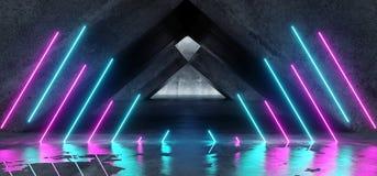 充满活力的三角霓虹背景发光的紫色蓝色桃红色紫罗兰色道路轨道门入口科学幻想小说未来派虚拟现实黑暗 库存例证