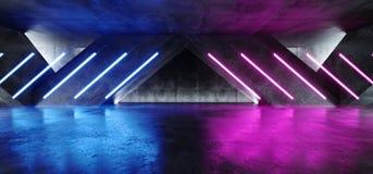 充满活力的三角霓虹背景发光的紫色蓝色桃红色紫罗兰色道路轨道门入口科学幻想小说未来派虚拟现实黑暗 皇族释放例证