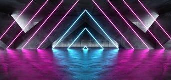 充满活力的三角霓虹背景发光的紫色蓝色桃红色紫罗兰色道路轨道门入口科学幻想小说未来派虚拟现实黑暗 向量例证