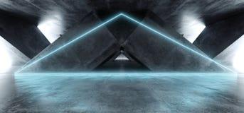 充满活力的三角霓虹背景发光的蓝色紫罗兰色道路轨道门入口科学幻想小说未来派虚拟现实黑暗的隧道 向量例证