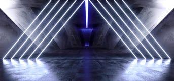 充满活力的三角霓虹背景发光的蓝色紫罗兰色道路轨道门入口科学幻想小说未来派虚拟现实黑暗的隧道 皇族释放例证