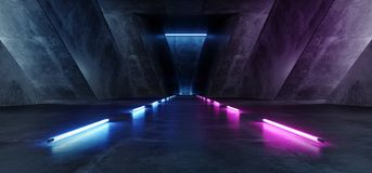 充满活力的三角霓虹霍尔走廊背景发光的紫色蓝色桃红色紫罗兰色道路轨道门入口科学幻想小说未来派真正 向量例证