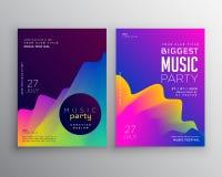 充满活力的抽象音乐党事件飞行物海报模板设计 皇族释放例证