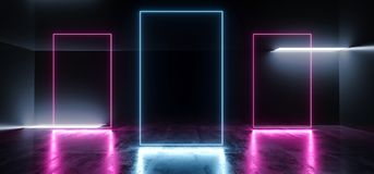 充满活力的霓虹发光的框架长方形塑造了萤光蓝色紫色真正科学幻想小说未来派阶段俱乐部聚会室霍尔黑暗空  向量例证