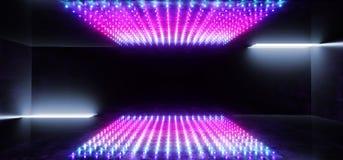 充满活力的霓虹发光的长方形矩阵小点塑造了萤光蓝色紫色真正科学幻想小说未来派阶段俱乐部聚会室霍尔黑暗空 库存例证