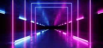 充满活力的霓虹背景发光的紫色蓝色桃红色紫罗兰色道路轨道门入口科学幻想小说未来派虚拟现实黑暗的隧道 向量例证