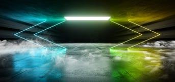 充满活力箭头科学幻想小说烟霓虹激光太空飞船未来黑暗的走廊发光的青绿的具体难看的东西走廊的虚拟现实 库存例证