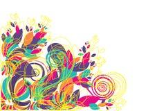 充满活力背景五颜六色的花卉的树荫 免版税库存图片