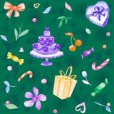 充满爱的水彩手拉的无缝的例证,花, candys,樱桃,心脏,礼物 免版税库存图片