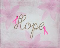 充满词希望的桃红色丝带标志在绳索设计 库存图片
