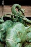 充电入争斗的战争大象 库存图片