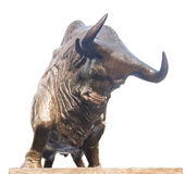 充电的公牛雕象在深交所 免版税库存照片