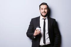 充电的咖啡因在工作前 免版税图库摄影