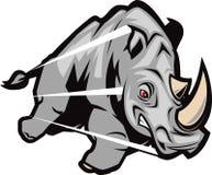 充电的犀牛 库存例证