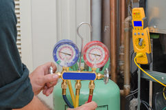 充电的HVAC系统 库存图片
