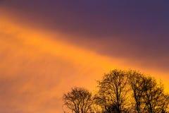 充满活力的日落云彩形成 免版税库存图片