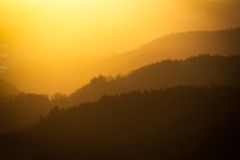 充满活力的日落在黑森林,德国 库存照片