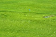 充满活力的高尔夫球场和目标旗子 免版税库存图片