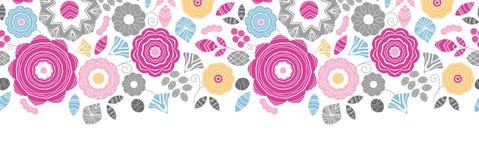 充满活力花卉scaterred水平无缝 向量例证